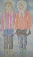 Две цветастые школьницы