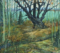 Осенний пейзаж со старой вербой | art59.ru